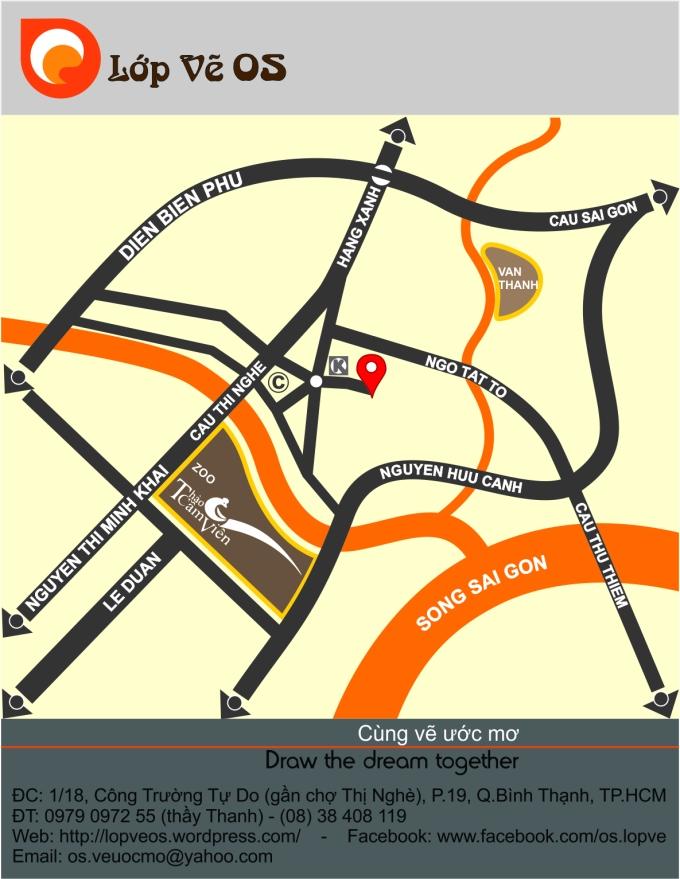 Bản đồ đến Lớp vẽ OS, gần chợ Thị Nghè